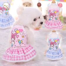 Pet Puppy Dog Clothes Cat Dress Skirt Grid Lace Patte Summer Dog Apparel Dress