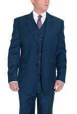Classic Fit Solid Indigo Blue Two Button Three Piece Super 150's Wool Suit