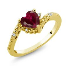 1.01 Ct Heart Shape Red Created Ruby 18K Yellow Gold Plated Silver Ring