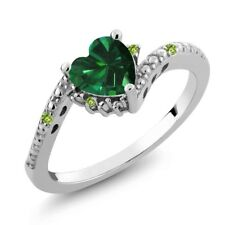 0.71 Ct Heart Shape Green Simulated Emerald Simulated Peridot 925 Silver Ring