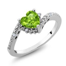 0.87 Ct Heart Shape Green Peridot White Topaz 925 Sterling Silver Ring