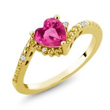 0.84 Ct Pink Created Sapphire White Topaz 18K Yellow Gold Plated Silver Ring