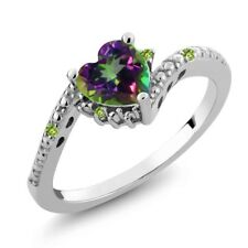 0.98 Ct Heart Shape Green Mystic Topaz and Simulated Peridot 14K White Gold Ring