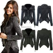 Womens Punk rivet Studded Shoulder Denim Motorcycle Jeans Coat Blazer Jacket HOT