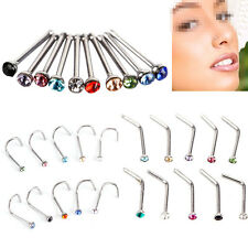 10 Pcs Nose Stud Straight or Screw  Surgical Steel 2mm Rhinestone Crystal Ball