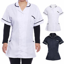 Ladies Tunic White Navy NURSES CARE HOME CLEANING SALON BEAUTY UNIFORM