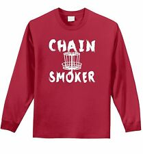 Chain Smoker Funny Mens Long Sleeve T Shirt Disco Golf Sports Beer Gift Tee Z1
