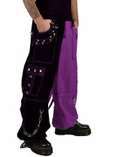 Tripp Nyc Split Leg Black Purple Rocker Emo Goth Rockabilly Punk Baggy Pants
