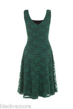 New Green Joanne Lace Flared Dress Emerald Glamorous Vintage Rockabilly 50s