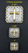 CONCHOS LOT OF 6 PC WESTERN GOLD CROSS SQUARE BERRY ANTIQUE SILVER 3 SIZES NEW