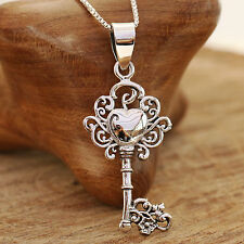 925 Sterling Silver Vintage Style Apple Key Pendant Necklace Handcraft &Gift Box