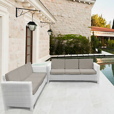 Rattan Garden Furniture Sofa Set for Outdoor Conservatory White