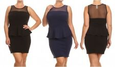 PLUS MESH INSERT BODYCON PEPLUM BLACK NAVY MINI CLUB COCKTAIL DRESS NEW 1X 2X 3X