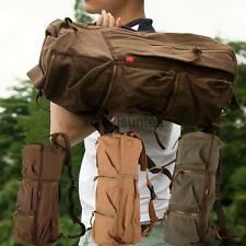 Men's Vintage Canvas Cylinder Messenger Tote Bag Backpack for Hiking Travel