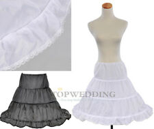 3 Hoop 1 Layer Flower Girl Petticoat Kids Underskirt Slip Crinoline White/Black