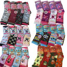 6/12 Pairs Childrens Girls Boys Cotton Novelty Socks Infant Size 0-6 Big KIds