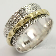 925 Sterling Silver & Brass 9 mm wide Beautiful Design Spinner Ring All Sizes