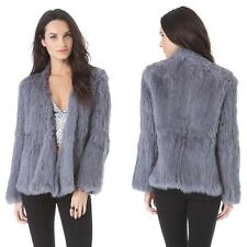 100% Real Kintted Rabbit Fur  Women Thick Jacket Coat Biger Collar Coat C0130