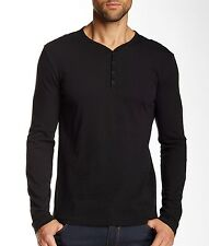 John Varvatos Star USA Mens Long Sleeve 4 Snap Henley Black Cotton $118 msrp NWT