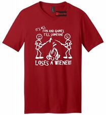 It's All Fun And Games Until Someone Loses A Wiener Funny Mens V-Neck T Shirt
