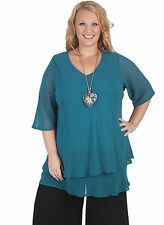 New Plus Size V Neck Teal Double Chiffon Elbow Sleeve Top 18 20 22 24 26 28