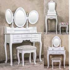 Vanity White Dressing Table Shabby Chic Bedroom Stool Mirror Storage Drawers