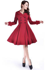 Chic Star Rockabilly Retro Goth Red Lapel Double Breasted Coat Trench 12 16 18