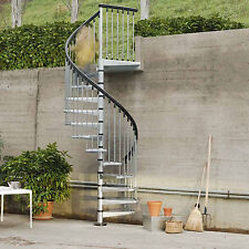 Arke Fontanot Civik Zink Spiral Staircase Kit - Galvanised, Suits Outdoor Use