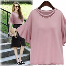 Women's Pink Black Flouncing Sleeves Summer T-Shirts Tops Plus Size 12 To 20