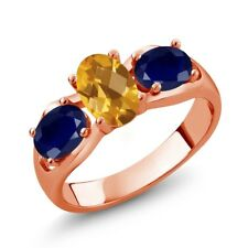 1.80 Ct Oval Checkerboard citrine Blue Sapphire 18K Rose Gold Plated Silver Ring