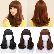 Women Girl Fashion Heat Resistant Long Curly Hair Cosplay Costume Full Wig Wigs