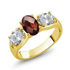 1.80 Ct Oval Red Garnet White Topaz 18K Yellow Gold Plated Silver Ring