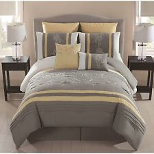 NEW Queen King Bed Gray Yellow Floral Embroidered 8 pc Comforter Set Elegant NWT