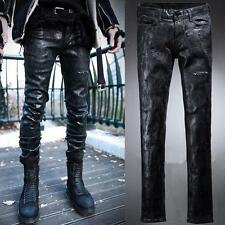 Men's Cool Retro Slim Skinny Biker Coated Denim Punk Jeans StylishTrousers Pants