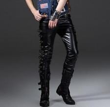 Mens Stylish Buckle Genuine Leather Punk Rock Motorcycle Pop Pants Trousers Size