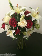 PREMIUM ROSE & LILY WRAPPED HAND TIED ARTIFICIAL FLOWER BOUQUET. VARIOUS COLOURS