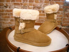 LAMO Chestnut Suede Ankle Strap Faux Fur Cresson Pull on Boots NEW