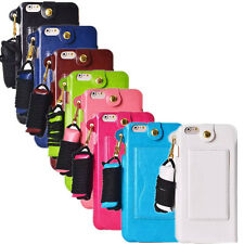 2016 Korea Sysle Sling Lanyard Card Holder Leather Case Cover for Smart Phone