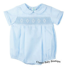 NWT Feltman Bros Brothers Boys Blue Diamond Smocked Romper 3 6 9 Months Baby