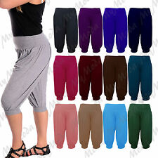 Ladies Womens 3/4 Ali Baba Cropped Harem Trousers Shorts Baggy Pants Plus 8-26