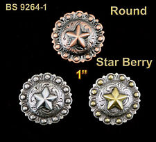 "CONCHOS LOT OF 6 PCS 1""  WESTERN ROUND STAR  BERRY LEATHER CRAFT  3 COLORS NEW"