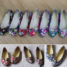 Womens Ballerina Ballet Dolly Pumps Canvas Flower Flat Loafers Single Boat Shoes
