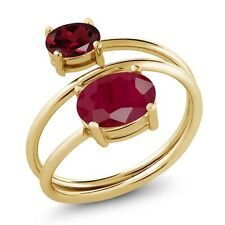 2.60 Ct Oval Red Ruby Red Rhodolite Garnet 18K Yellow Gold Plated Silver Ring