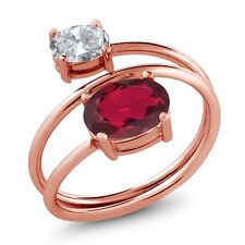 2.30 Ct Oval Ruby Red Mystic Topaz White Topaz 18K Rose Gold Plated Silver Ring
