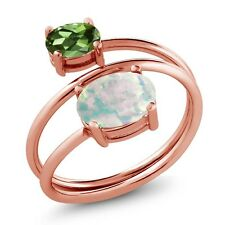 2.05 Ct Simulated Opal Green Tourmaline 18K Rose Gold Plated Silver Open Ring