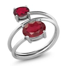 2.50 Ct Oval African Red Ruby Ruby Red Mystic Topaz 925 Sterling Silver Ring