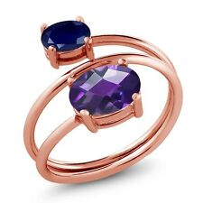 2.10 Ct Oval Checkerboard Amethyst Sapphire 18K Rose Gold Plated Silver Ring