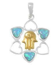 Sterling Silver Heart Star of David Necklace Golden Hamsa Pendant w Opal Stone
