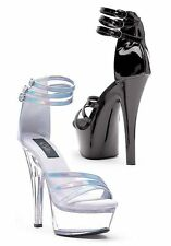 6'' Heel Strappy Sandal Womens Size Shoe With Closed Heel And Triple Ankle Strap