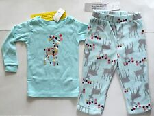 Baby GAP Blue Microfleece 2 pc Pajama PJ Set Deer Top Pants 12 18 24 mo NWT $30